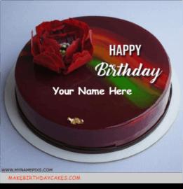 Red Mirror Glazed Birthday Cake