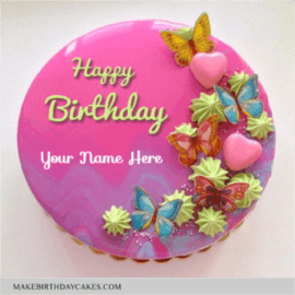 Pink Heart Mirror Glazed Birthday Cake
