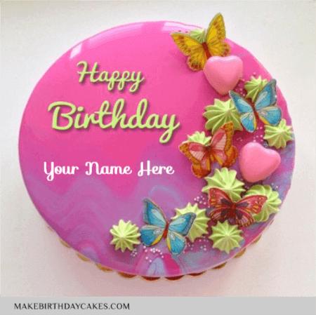 Pink Heart Mirror Glazed Birthday Cake
