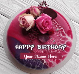 Beautiful Rose Cake For Happy Birthday