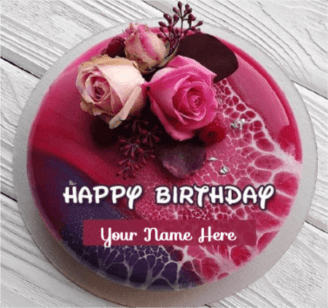 Beautiful Rose Cake For Happy Birthday