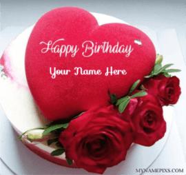 Beautiful Red Heart Birthday Cake