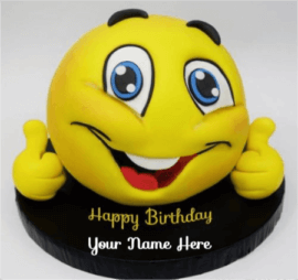 Cute Yellow Smiley Cake For Birthday