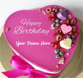 Cute Romantic Heart Birthday Cake