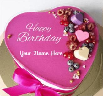 Cute Romantic Heart Birthday Cake