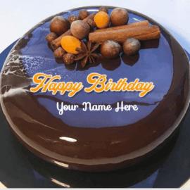 Mirror Glazed Chocolate Birthday Cake