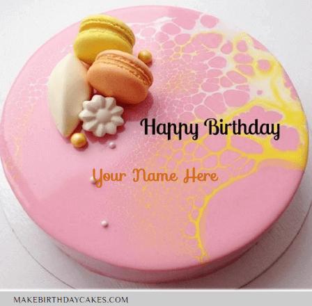Mirror Glazed Pink Donuts Birthday Cake