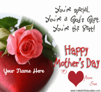 Red Roses and Hart Mother day Cover