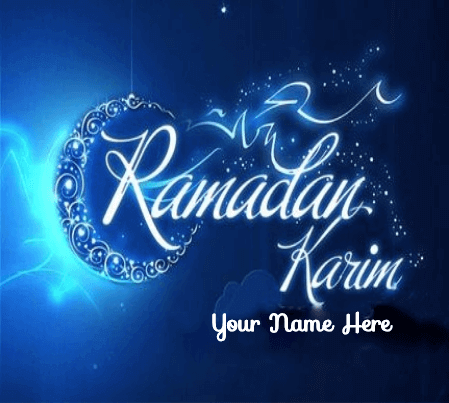 Blue Lighting Ramadan Kareem Greetings