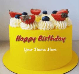 Yellow Fruit Cake For Birthday