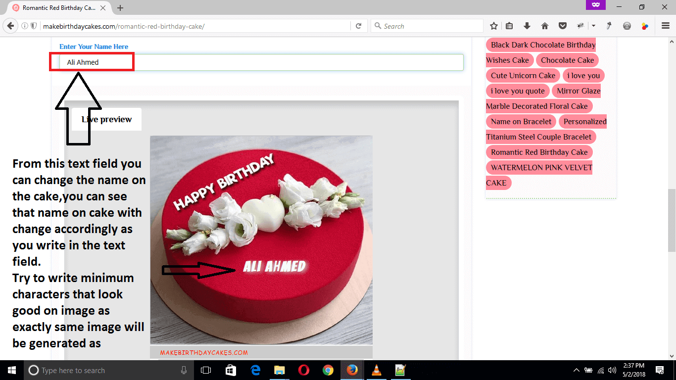 How to write name on Birthday Cake