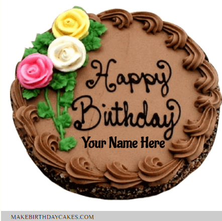 Beautiful Brown Chocolate Cake Wishes with Name