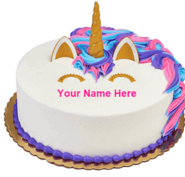 Beautiful Cat Face Birthday Cake With Name
