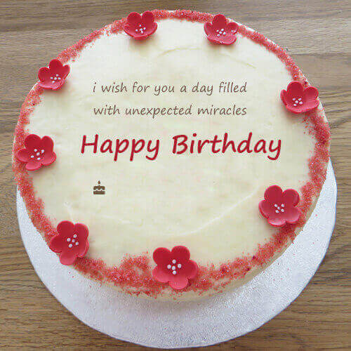 Birthday Cakes Wishes With Name On Strawberry Cake