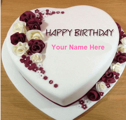 Hart Shape Beautiful Birthday Cakes With Name