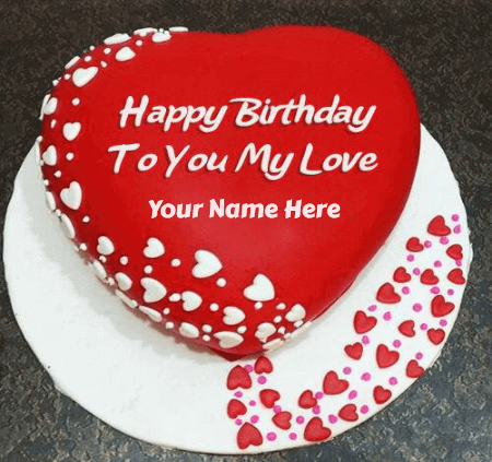 Birthday Cake For Lovers With Hearts