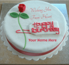 Romantic Birthday Cake With Name