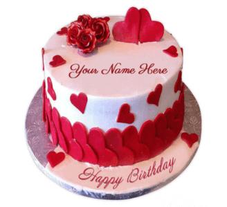 Valentines Birthday Cake With Name