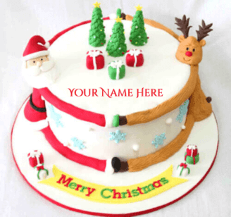 Beautiful Merry Christmas Cakes With Name