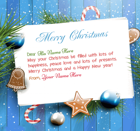 Beautiful Merry Christmas Card With Name