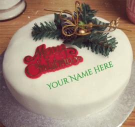 Christmas Birthday Cake With Name Edit