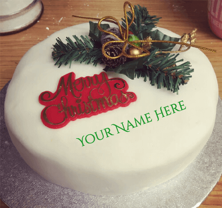 Christmas Birthday Cake With Name Edit