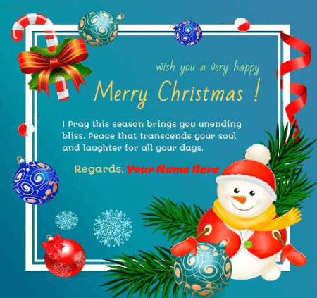 Merry Christmas Greeting Card With Name