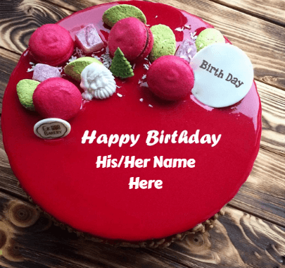 Red cake with biscuits for birthday