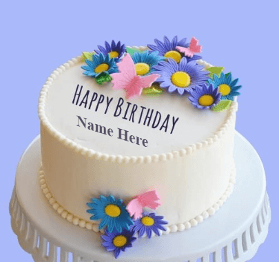 Cream cake with flowers design for birthday