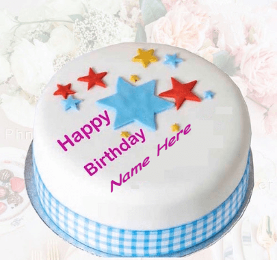 Simple cake with stars for birthday