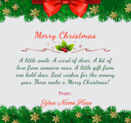 Merry Christmas Card With Beautiful Message