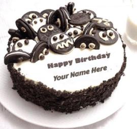 Birthday cake on white