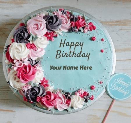 Birthday cake with flower
