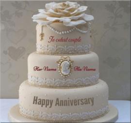 Beautiful Anniversary Cake for Couple
