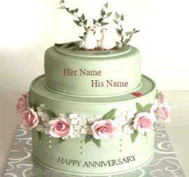 Love Birds Couple Anniversary Cake
