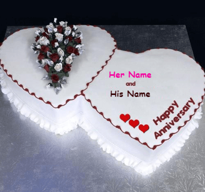 Happy Anniversary Double Heart Cake