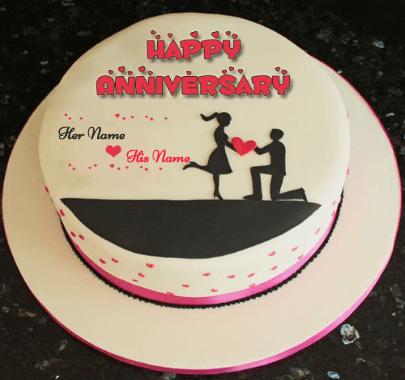 Happy Anniversary Wish with Heart Cake