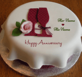 Happy Anniversary Cake With Sweet Decoration