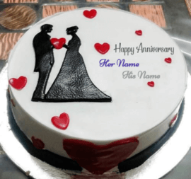 Happy Anniversary Love Couple Wedding Cake
