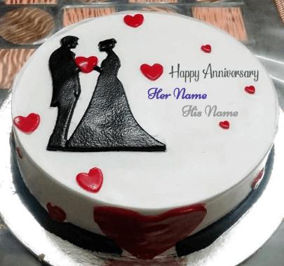 Happy Anniversary Love Couple Wedding Cake