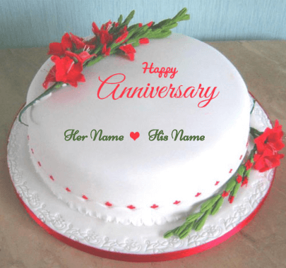 Happy Anniversary With Lovely Flowers Cake