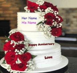 Luxury Roses Anniversary Cake
