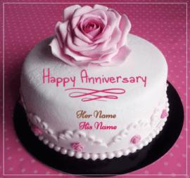 Anniversary Pink Rose Cake