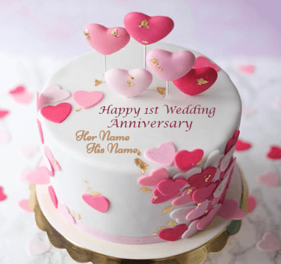 Happy 1st Wedding Anniversary Cake