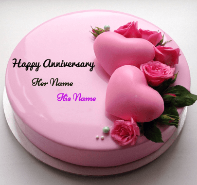 Happy Anniversary Pink Hearts Cake