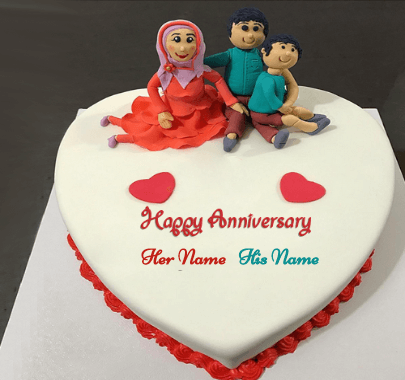 Happy Anniversary With Family Cake