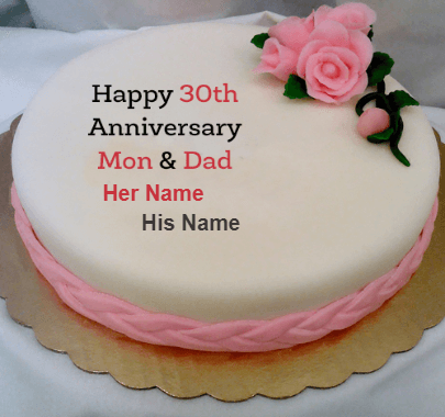 Happy 30th Anniversary for Mom and Dad with cake