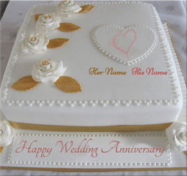 Happy Wedding Anniversary Cream Cake