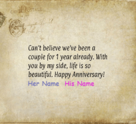Happy Anniversary wishes for Couple 1st Anniversary