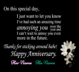 Caring Couple First Anniversary Happy Wishes